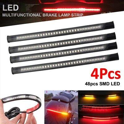 4x Flexible Motorcycle 48 LED Strip Rear Tail Brake Stop Turn Signal Light Lamp