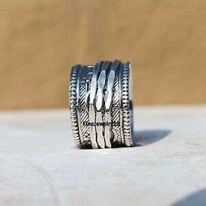 925-Sterling-Silver-Spinner-Ring-Wide-Band-Meditation-Statement-Jewelry-A411