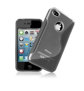 Fits-Apple-iPhone-4-Grey-S-Line-Skin-Case-Cover-Protector-Gel-Clear-Exact-Fit
