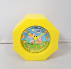 Childs-Peppa-Pig-Plastic-Yellow-Family-Alarm-Clock-Kids-Bedroom-George-Dial-Time