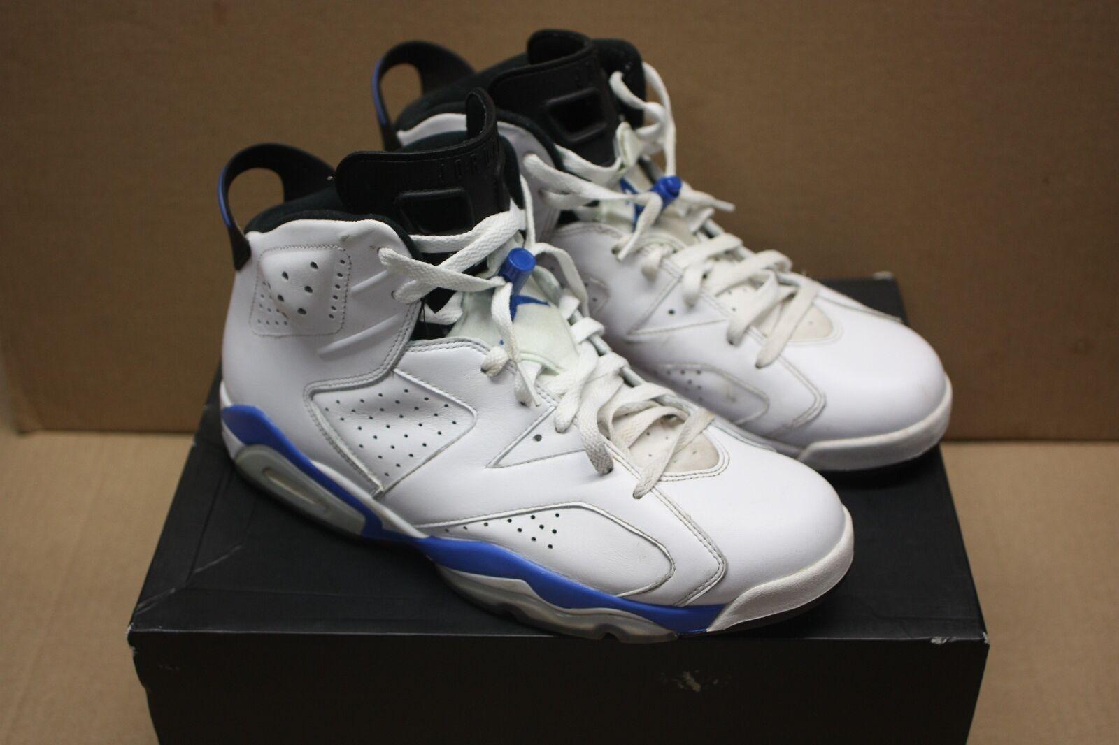 Nike Air Jordan VI Retro 6 White  Sport blueee Black (384664-107) Size 12 US  11UK
