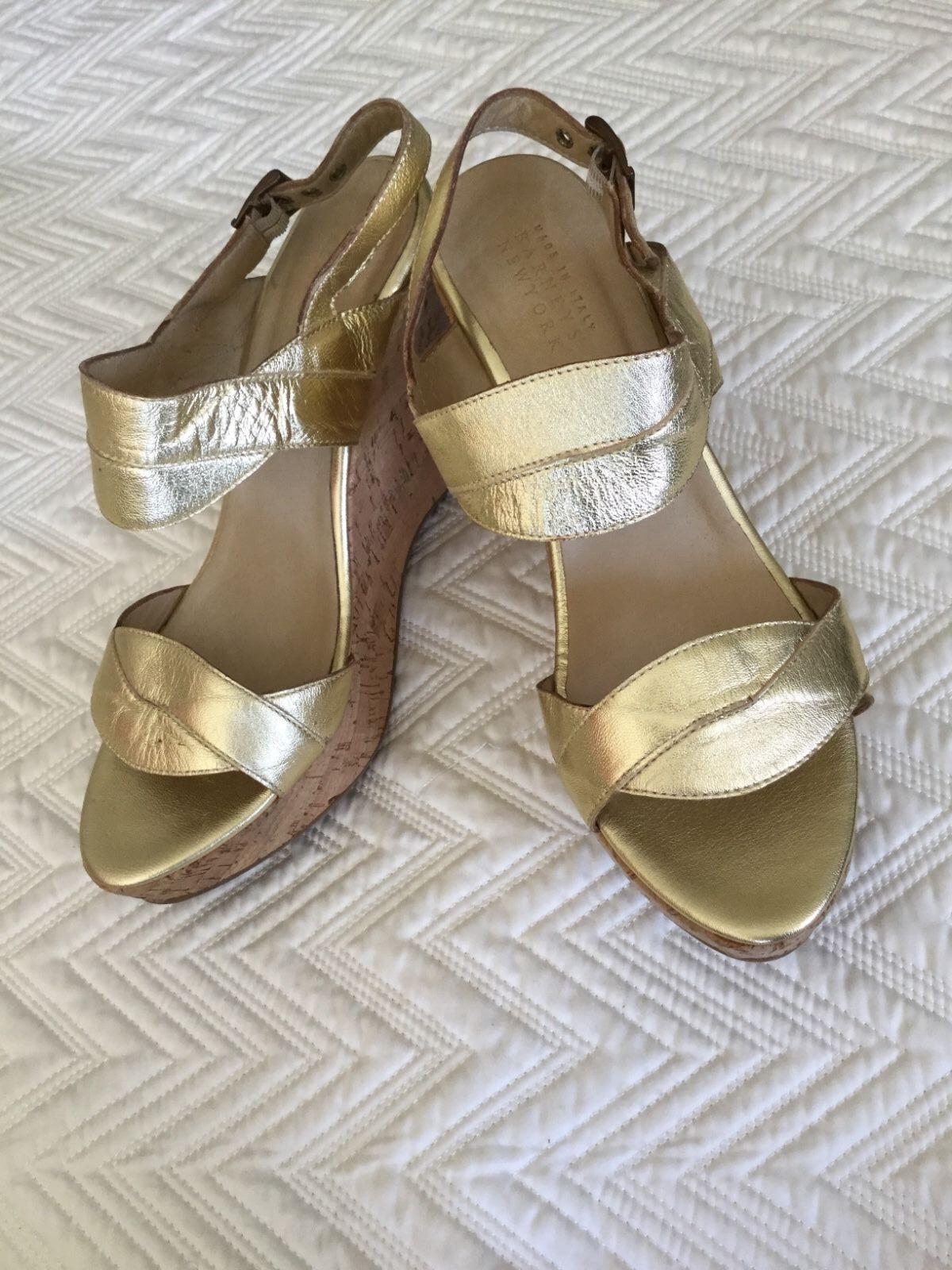 Woman's Barneys New York Granegro Granegro Granegro de oro Sandalias De Plataforma 40 10 Tacones Zapatos  tienda de venta en línea