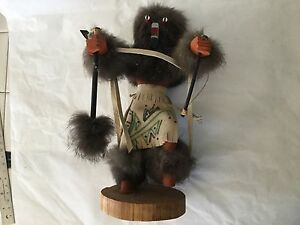 Vintage southwestern Hopi fur wolf dancing figurine kachina doll