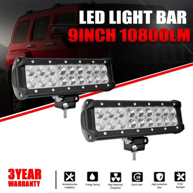 Dual Row 9INCH LED Light Bar Driving Offroad Spot Flood Spot Combo Beam PK 10''
