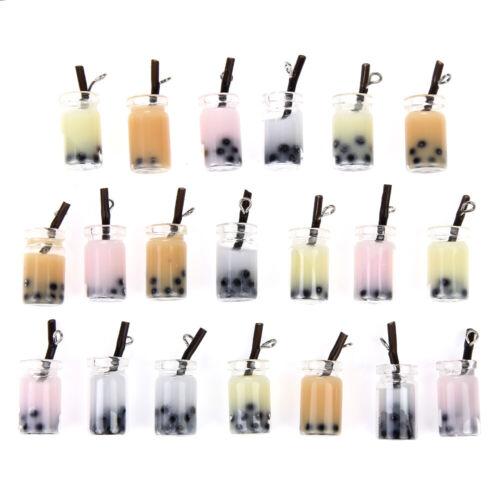 10pcs Resin Charms 29*10mm Milk Tea Bottle Pendant Jewelry DIY Earrings Bracelet