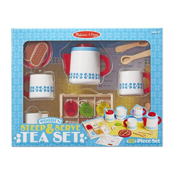 Melissa and Doug 19843 - Wooden Steep and Serve Tea Set - NEW