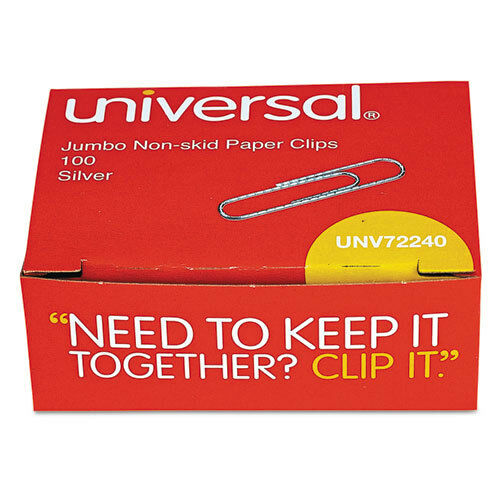 Silver Universal Nonskid Paper Clips Jumbo Wire 10 Boxes//pack 100//box