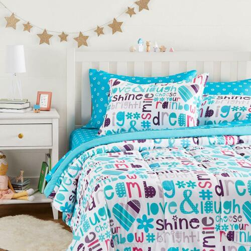 Twin Full Queen Bed Bag Aqua Blue Purple White Dream Big 7pc Comforter Sheet Set