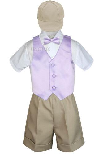5pc Baby Boys Toddler Formal Vest Shorts Khaki Suit Satin Vest Bow Tie Set S-4T