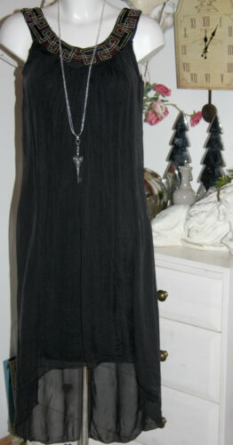 Robe Long Paillettes Robe Taille Soie tunique Nouveau Youre Noir 38 Noir Self E5q6Z