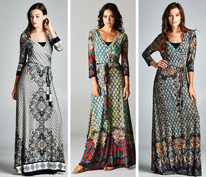 Bohemian Hippie Gypsy Boho Maxi Dress Wrap Moroccan Mosaic S-3XL ...