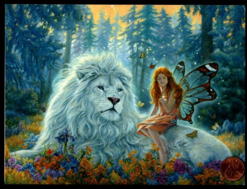 BIRTHDAY White Lion Pixie Butterflies Trees GLITTERED BIRTHDAY Greeting Card