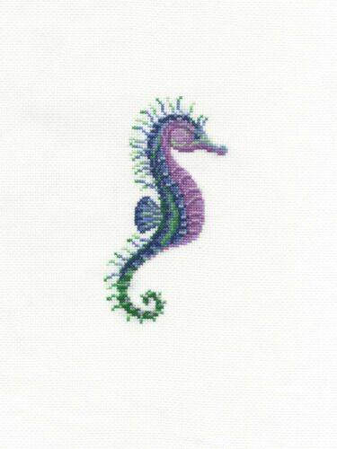 DMC Counted Cross Stitch Kit Ocean Blue Stately Seahorse