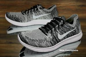 Nike libera rn flyknit 2017 bianco nero 880843-003 scarpe da corsa degli uomini - dimensioni
