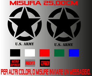 2Adesivi-Stella-Militare-US-ARMY-Jeep-renegade-cofano-25CM-4X4-Auto-Moto
