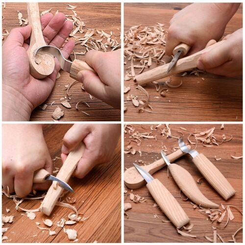 Wood Carving Tools Kit KnifeSloyd Hook Detail KnivesBonus Sharpener