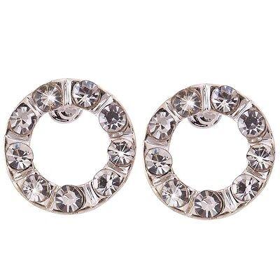 Xmas Jewelry Silver Plated Circle Hoop Ring Crystal Rhinestone ear Stud Earrings