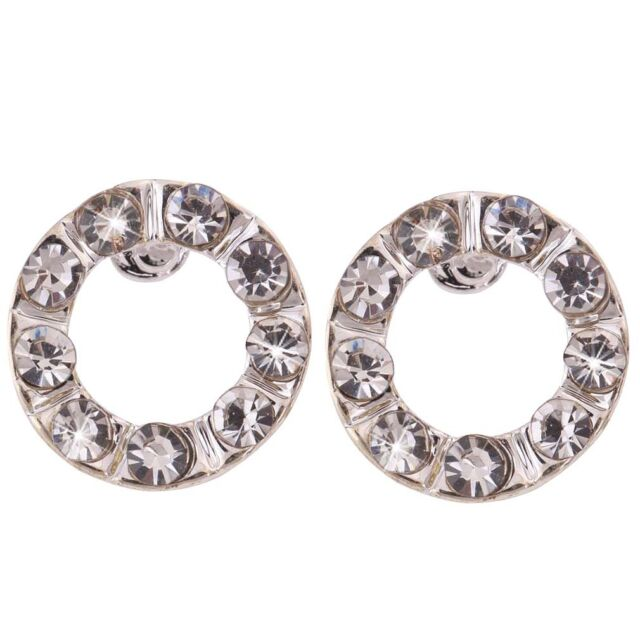 Xmas Jewelry Silver Plated Circle Hoop Ring Crystal Rhinestone ear Stud Earrings
