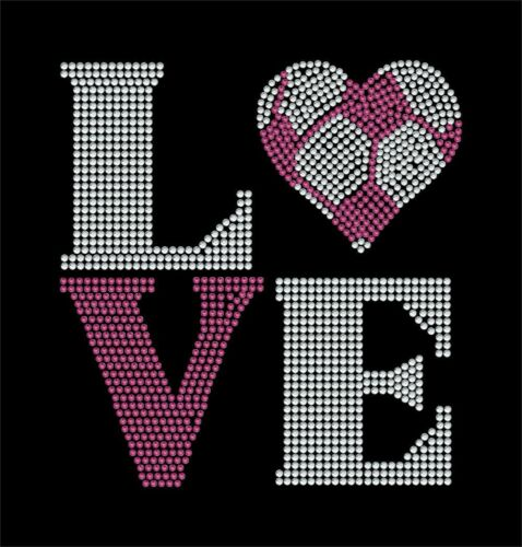 LOVE Square Soccer Heart Rhinestone Transfer BLING Iron on DIY