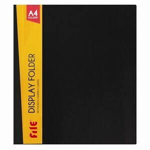 A4 DISPLAY BOOK 40 POCKETS 80 VIEW COLOUR FILE COVER PRESENTATION FILE FOLDER DW