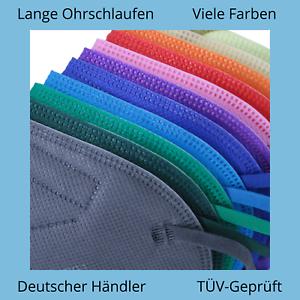 ✅5 Stk FFP2 Maske Bunt Farbig 5-Lagig Atemschutz DEUTSCHER HÄNDLER ✅ TÜV ✅ CE ✅