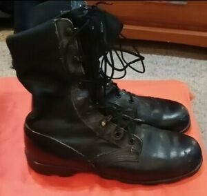 RO-Search-Black-Leather-Lace-Up-Combat-Military-Work-Boots-w-Mesh-Mens-Size-6-R