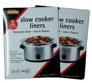 5 Per Pk 2 X Packs Slow Cooker Liners For Round /& Oval Slow Cookers 10 Bags