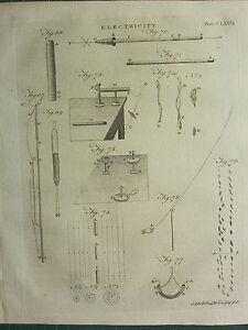 1797 GEORGIAN PRINT ~ ELECTRICITY ~ VARIOUS DIAGRAMS EQUIPMENT