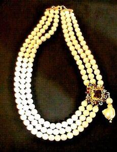 Vtg-Baroque-Pearl-3std-Necklace-Pendant-14mm-Citrine-Ruby-Topaz-gems-14k-925