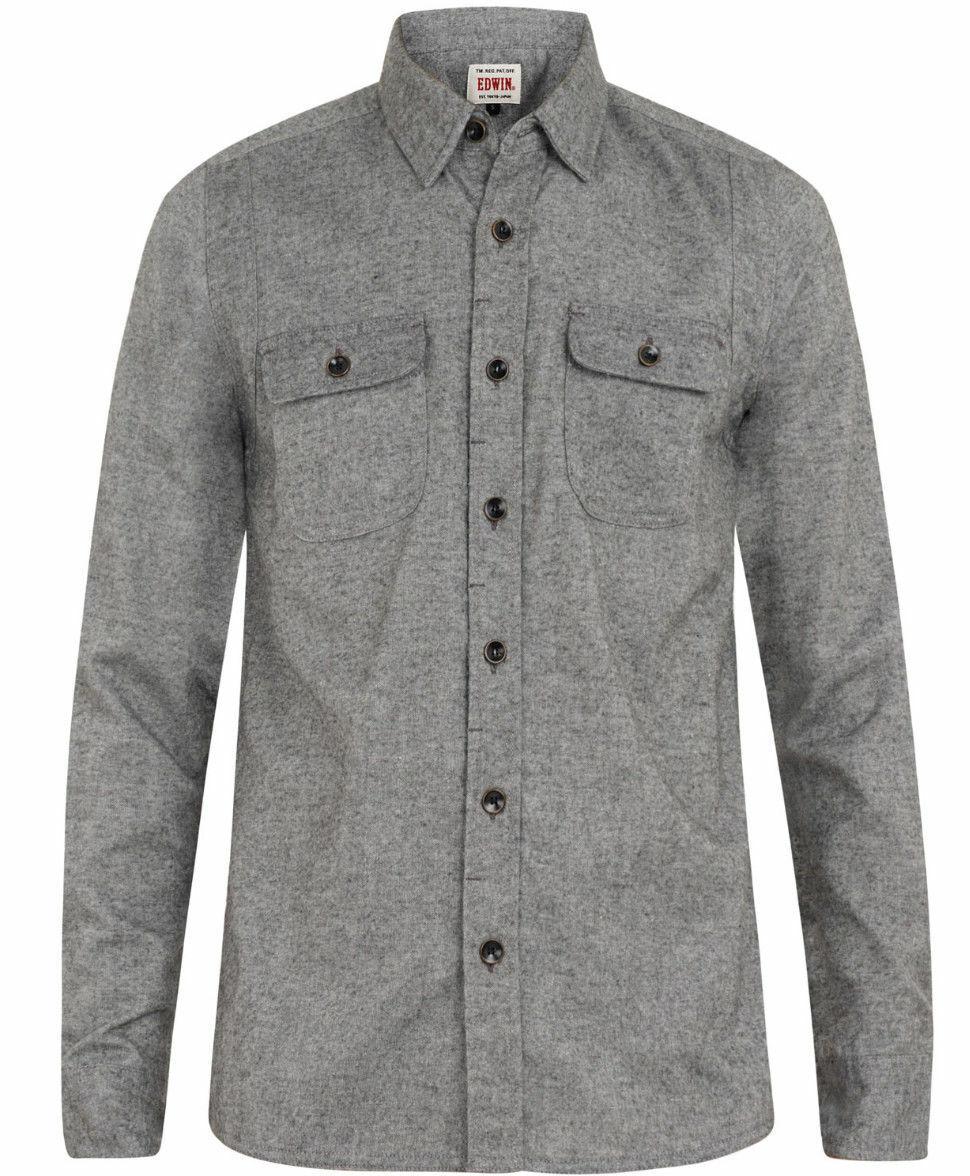 Edwin LS Conway camicia, flanella, Grigio Pietra Enzima lavato, L