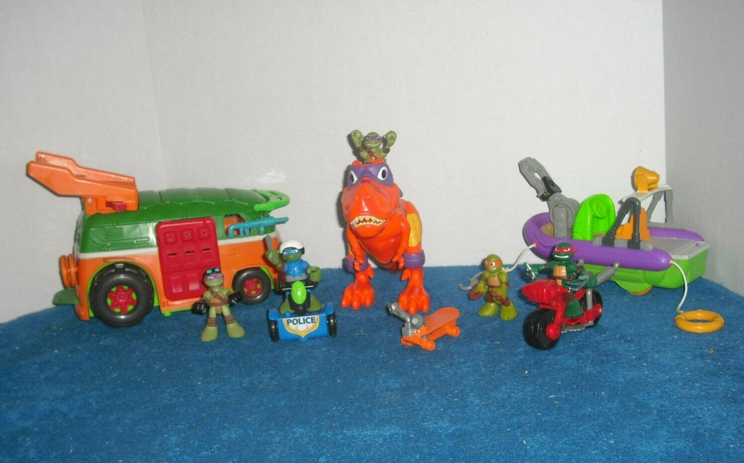 TMNT Half Shell Heroes Lot Figures Party Wagon Minibike Dive Boat T-Rex Turtles
