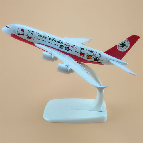 16cm Airplane Model Plane EVA Air  Hello Kitty Airlines Airbus 380 A380 Pink