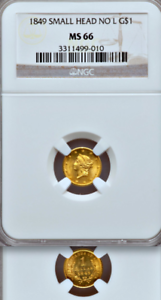 1849-No-L-NGC-MS66-1-Year-Type-13-500-PCGS-Price-Guide-Gold-Dollar-1