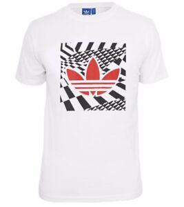 White Retro Vintage Men/'s New Adidas Originals Graphic Logo T-Shirt Top