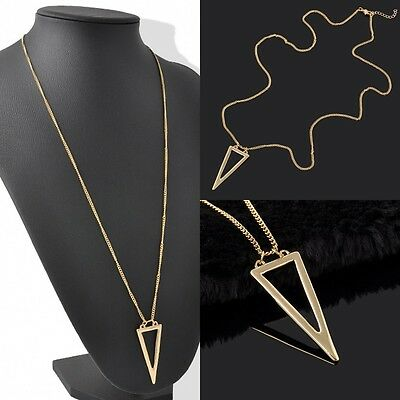 Fashion Gold Plated Long Tassel Triangle Pendant Necklace Sweater Chain Jewelry
