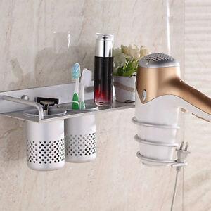 3-in-1Hair Dryer Stand Storage Organizer Rack Holder Hanger Wall Bathroom Set US