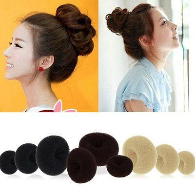 Lady's Girls Sponge Hair Styling Tool Bun Maker Ring Donut Shaper Hair Styler CA