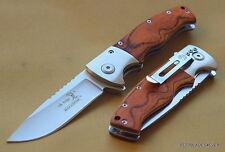 ELK RIDGE PAKKAWOOD HANDLE SPRING ASSISTED KNIFE WITH CLIP **RAZOR SHARP** BLADE
