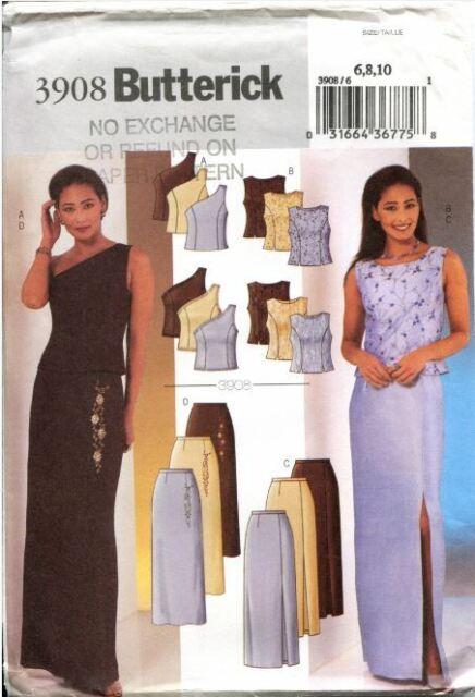 Misses' Evening Top Skirt Sizes 6-8-10 Butterick Sewing Pattern 3908 UNCUT F/F