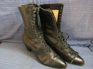 63ae684a2ba6a Details about Antique Victorian Edwardian Womens Black Leather Lace Up  Boots Shoes