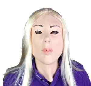 Blanco-Humano-Lady-Muneca-Mascara-Rubia-Peluca-Pelo-Latex-Fetiche-Disfraz