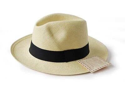 HAND WOVEN CLASSIC FEDORA PANAMA HAT ECUADOR 100% AUTHENTIC GIFT BOX AS J.CREW