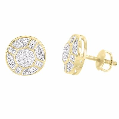 Solitaire Round Earrings 10k Yellow Gold Studs 7mm Genuine Diamonds Men Women