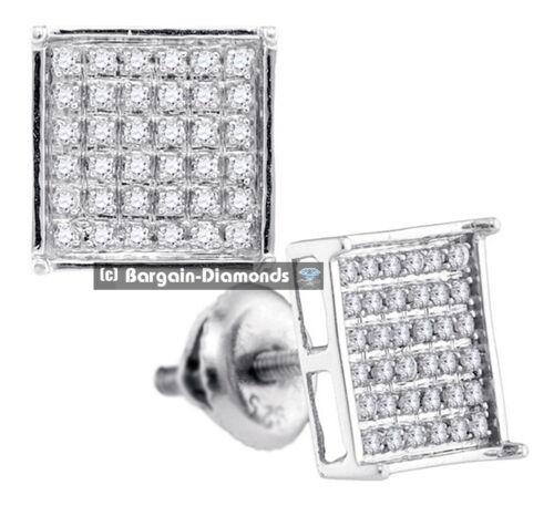 diamond square stud screwback earrings .25 carats 6x6 grid men ladies basket 925