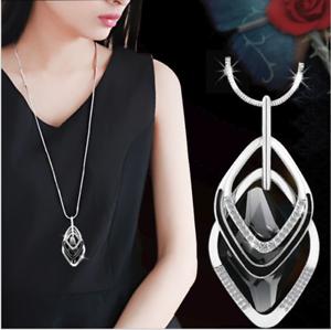 Damen-Halskette-Schmuck-Collier-Anhaenger-Silber-lang-Kette-Mode-Strass-Luxus-M5