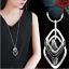 Damen-Halskette-Schmuck-Collier-Anhaenger-Silber-lang-Kette-Mode-Strass-Luxus-M5 Indexbild 1