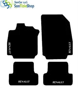 ALFOMBRILLAS-RENAULT-CLIO-2005-12-bordado-blanco-4-Arreglar-Compatible
