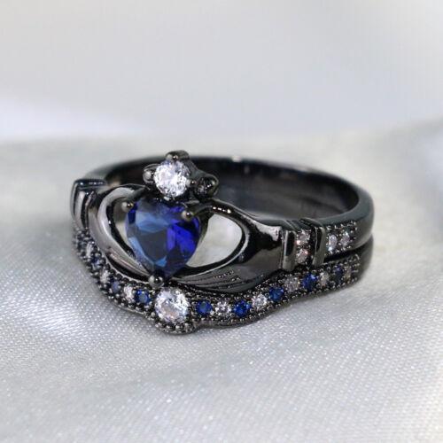 2 Rings Couple Rings Balck Blue Stainless Steel Mens Ring Heart Sapphire CZ Ring