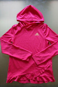 Adidas-Girls-Climalite-Pink-Hoodie-Pullover-Tip-Size-Large-14-Long-Sleeve-Clean