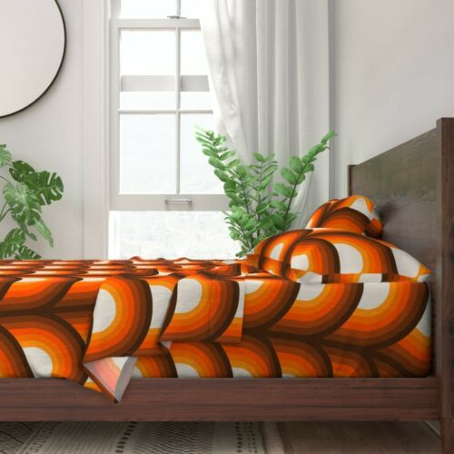 Orange And Brown Retro Midcentury 100/% Cotton Sateen Sheet Set by Roostery